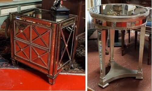 mirrored furniture - Mirrored end table (left) and mirrored side table (right) | by Paris on Ponce & Le Maison Rouge (https://www.flickr.com/photos/parisonponce/5105025244/in/photostream/) via Creative Common