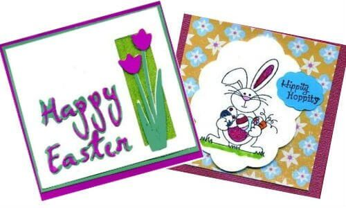 "Hand Made Easter Card with Tulip Die Cuts"" right ""Childs Easter card with Bunny""by June Campbell via Creative Commons"