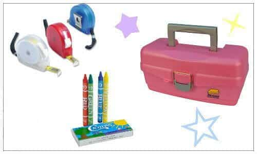 pink tackle box, 4 pack crayons, retractable measuring tape