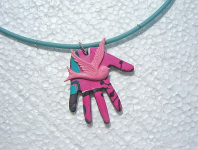 """magnetic jewelry clasp, heart lock key pendant necklace """"Pink Bird"""" 
