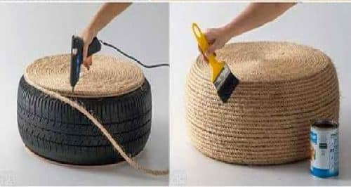 Make a floor cushion with a tire