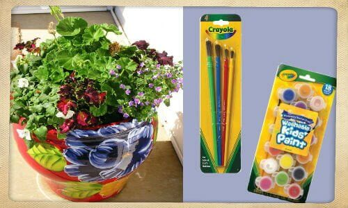 """clay flower pot, crayola paint set """"Welcome Flower Pot"""" 