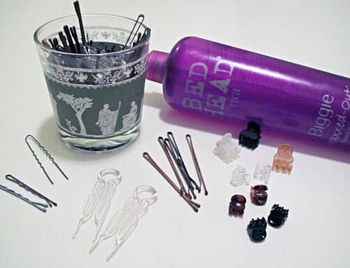 """hair styling tools+bobby pins+hair spray"" 